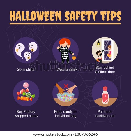 Halloween 2020  safety tips during corona virus pandemic. Stay safe information social media post template. Flat vector design.