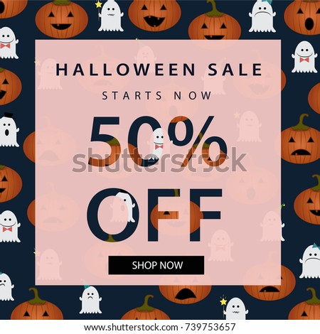 halloween sale banner autumn poster template with halloween