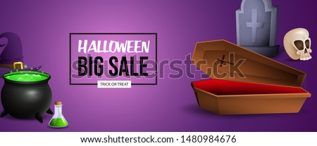Halloween Sale banner design with boiling potion, coffin and grave on purple background. Lettering can be used for posters, leaflets, flyers