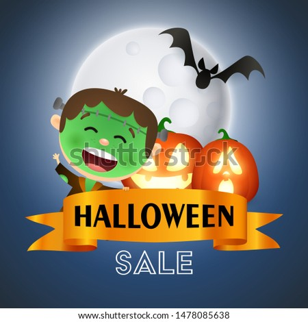 Halloween Sale banner design with funny zombie with scar makeup, ugly pumpkins with candle light and flying bats on dark blue moon light background. Lettering can be used for posters, leaflets, flyers