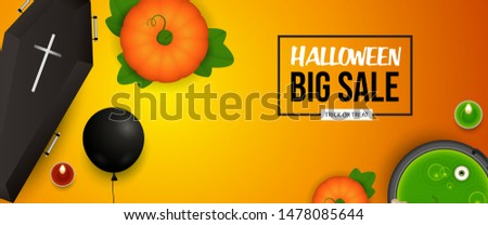 Halloween Sale banner design with pumpkin, coffin and candle on orange background. Lettering can be used for posters, leaflets, flyers
