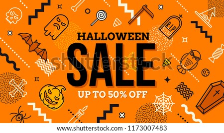 Halloween sale banner. Pattern with Halloween linear signs, symbols  and abstract different shape. Promotion template design.