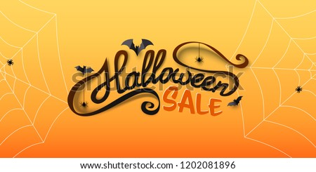 Halloween Sale banner with calligraphy text, paper bats, spiders, spiderwebs. Hand drawn lettering. Special offer banner template for holiday shopping. Vector Illustration.  - Shutterstock ID 1202081896