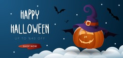 Halloween sale banner with Jack O' Lantern pumpkin, witch hat, bat, cloud and stars. Vector illustration background for party invitation, greeting card, web, social media.