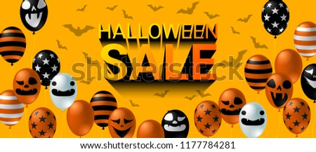 Halloween Sale banner with scary balloon on orange background design. Halloween celebration concept advertising vector illustration. - Shutterstock ID 1177784281