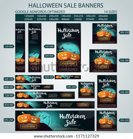 Halloween sale banners. Google adwords optimization. 14 sizes