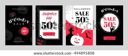 halloween sale cards set of