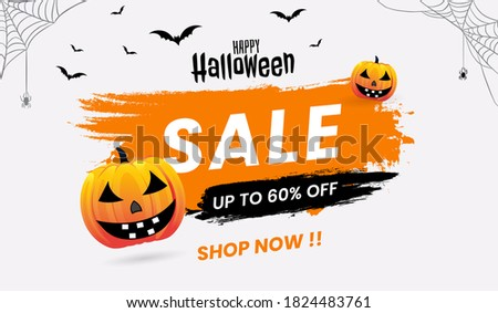 """Halloween Sale concept banners, with Halloween pumpkins ghost, Scary Halloween bats and """"SALE"""" Text.Flyer or invitation template,Brochures,Poster or Banner.Vector illustration EPS10."""