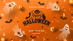 Halloween sale horizontal banner. Holiday promo banner with spooky flying ghosts, black spiders and bats, scary pumpkins, serpentine and confetti on orange background. Vector illustration.