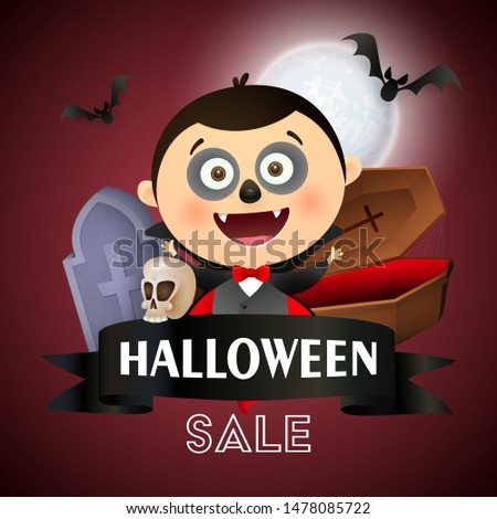 Halloween sale lettering in frame with Dracula with funny makeup, coffin, grave and flying bat on dark red moon light background. Lettering can be used for posters, leaflets, flyers