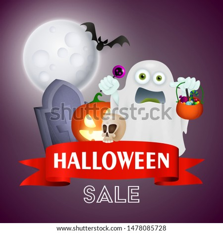 Halloween sale lettering in frame with frightened ghost with sweets, skull, grave and flying bat on dark blue moon light background. Lettering can be used for posters, leaflets, flyers