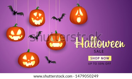 Halloween Sale lettering with pumpkin lanterns. Invitation or advertising design. Handwritten and typed text, calligraphy. For leaflets, brochures, invitations, posters or banners.