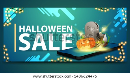 Halloween sale, modern blue banner for web site with the smartphone from which it is projected tombstone and pumpkin Jack