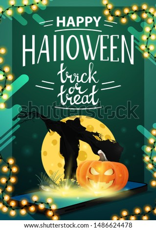 Halloween sale, modern green vertical banner with the smartphone from which it is projected Scarecrow and pumpkin Jack