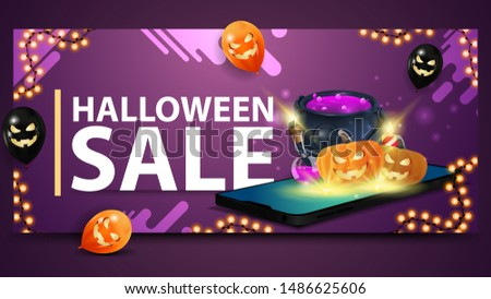 Halloween sale, modern purple banner for web site with ballons, garland and smartphone from which it is projected witch's cauldron and pumpkin Jack