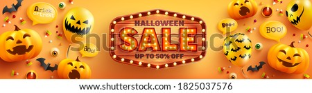 Halloween Sale poster and banner template with cute halloween pumpkin,ghost balloons and wood sign on orange background. Website spooky,Background or banner Halloween template.