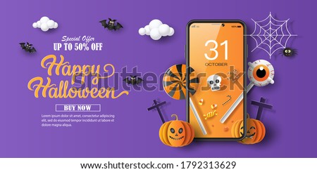 Halloween sale promotion banner with a discount offer on a special occasion, give voucher, banner, poster or background, paper art and craft style, online shopping concept.