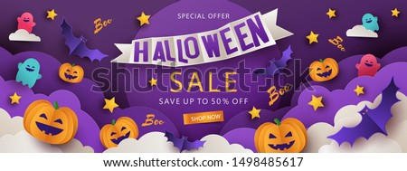 Halloween Sale Promotion banner with cutest pumpkins, bats and ghosts in night clouds on violet background. Paper cut style, digital craft style. Halloween website Sale banner, poster or card template