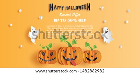 Halloween sale promotion banner with discount offer on special occasion, give voucher, banner, poster or background, paper art and craft style, flat-style vector illustration.