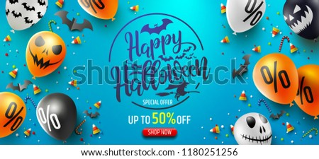 Halloween Sale Promotion Poster with Halloween candy and Halloween Ghost Balloons on blue background.Scary air balloons.Website spooky or banner  template.Vector illustration EPS10