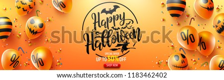 Halloween Sale Promotion Poster with Halloween candy and Halloween Ghost Balloons on Orange background.Scary air balloons.Website spooky or banner  template.Vector illustration EPS10 - Shutterstock ID 1183462402