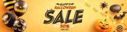 Halloween Sale Promotion Poster with Halloween Ghost Balloons on Orange background.Scary air balloons.Website spooky or banner template