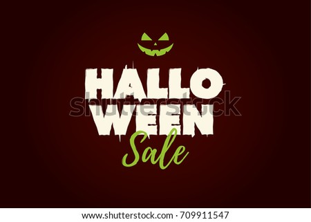 Halloween Sale text logo with pumpkin. Editable vector design.
