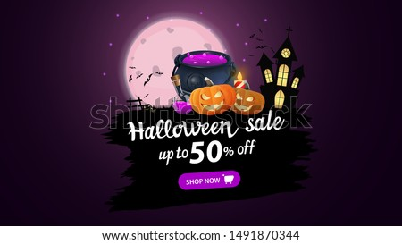 Halloween sale, up to 50% off, modern discount banner with full moon, old castle, bats, witch's cauldron and pumpkin Jack