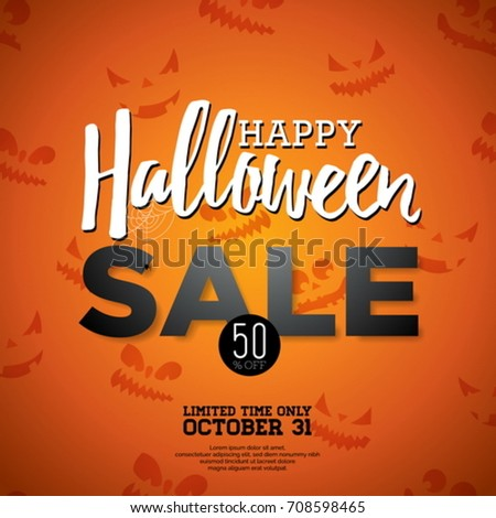Halloween Sale vector illustration with Holiday elements on orange background. Design for offer, coupon, banner, voucher or promotional poster #708598465