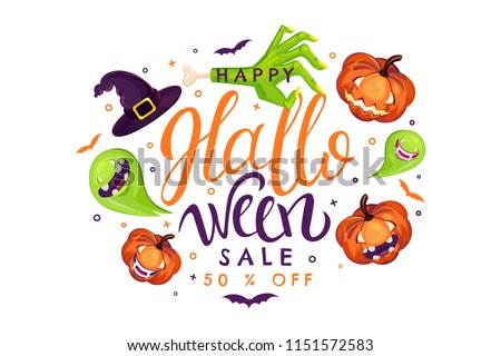 Halloween Sale vector illustration with pumpkin, zombie, witch, ghost, vampire. Can use for party invitation, greeting card, banner. Lettering typography poster template.