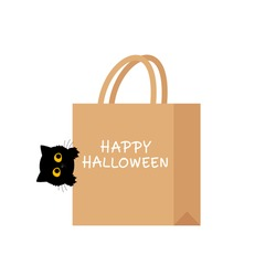 Halloween sale with black cat cartoon and paper bag icon sign isolated on white background vector illustration.