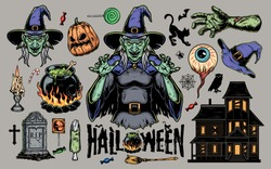 Halloween scary elements vintage set with witch hat broom cauldron zombie body parts sweets haunted house human eye animals tombstone burning candle pumpkin isolated vector illustration
