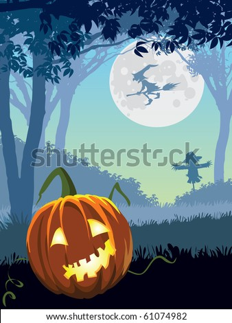 Halloween scary garden, illustration for Halloween holiday