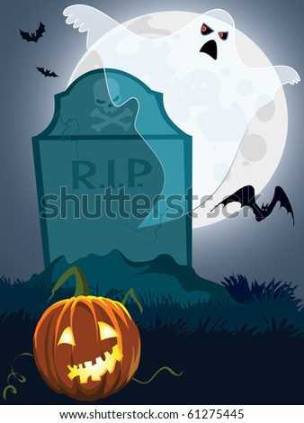 Halloween scary grave, illustration for Halloween holiday