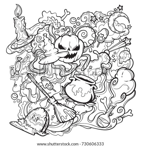 halloween scary line art with