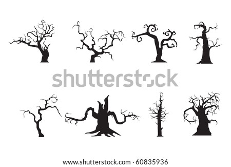 Halloween scary trees, vector