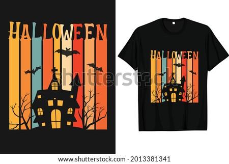 Halloween scary vintage t shirt design