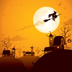 Halloween scene: Witch flying over the moon