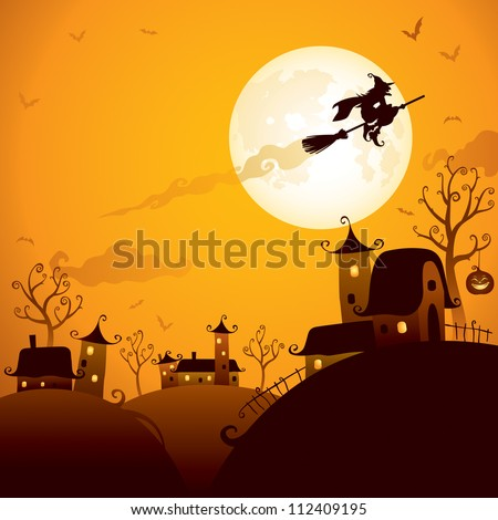 Halloween scene: Witch flying over the moon - stock vector