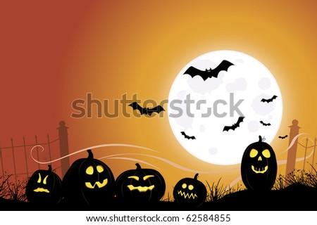 Halloween scene with bats flying over jack o' lanterns
