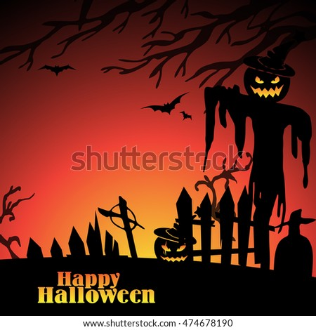 Halloween scene with tree, scarecrow on graveyard and scary Jack. Vector background for Halloween. - Shutterstock ID 474678190