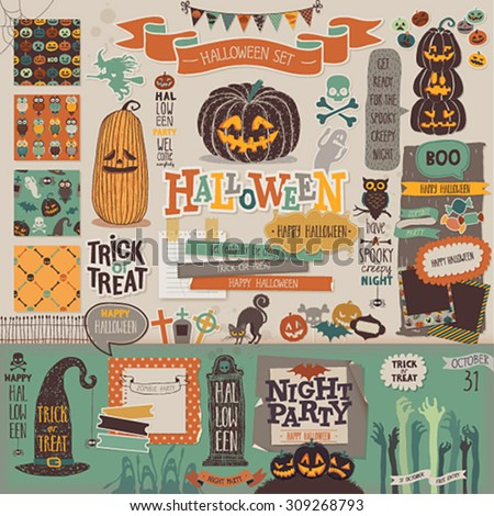 Halloween scrapbook set - decorative elements. Vector illustration.