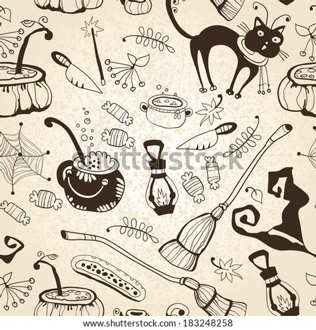 Halloween seamless background. The pattern for the autumn holidays. Halloween Day, Thanksgiving Harvest