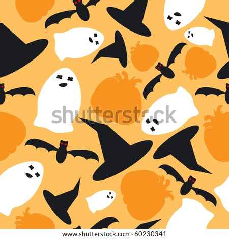 Halloween seamless from hat, pumpkin, bat and ghost - stock vector