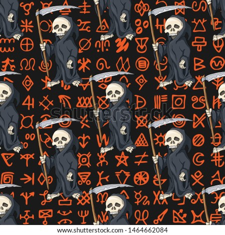 Halloween seamless pattern, background. Cartoon Human Skeleton in Black Robe Standing with Scythe on ancient scripts. Gift box wrapping paper, party decoration, textile, linen print design