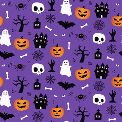 Halloween seamless pattern background design with pumpkin lantern, ghost, skull, spider, and other scary or festive elements on purple background