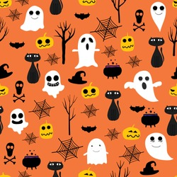 Halloween seamless pattern background. Vector illustration for fabric and gift wrap paper design.