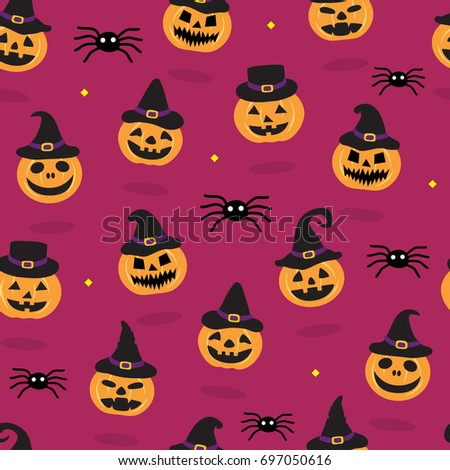 Halloween Seamless Pattern Background with Pumpkins wearing Witch Hat