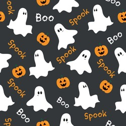 Halloween seamless pattern.  Cute ghosts and pumpkins on gray backround. Good for textile print, wrapping and wall paper, decoration.