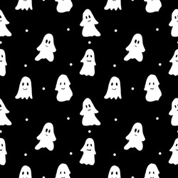 Halloween seamless pattern. Cute ghosts on black background. Vector